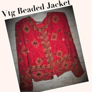 Vtg Red Silk Beaded Evening Jacket